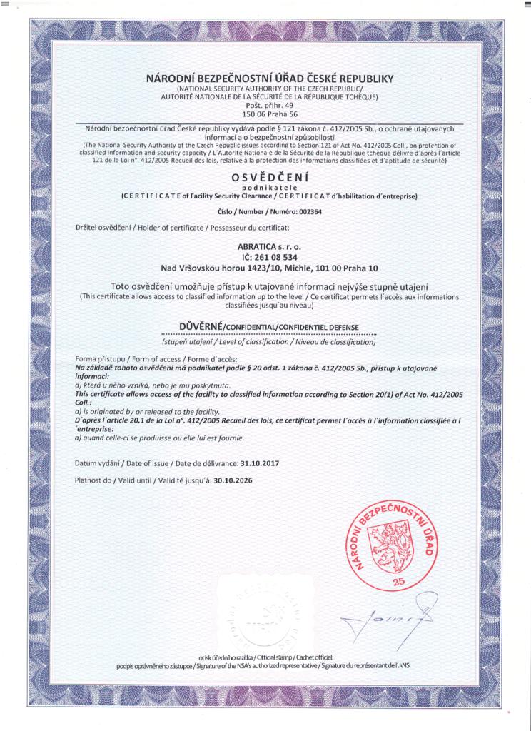 NBU Certifikat Abratica